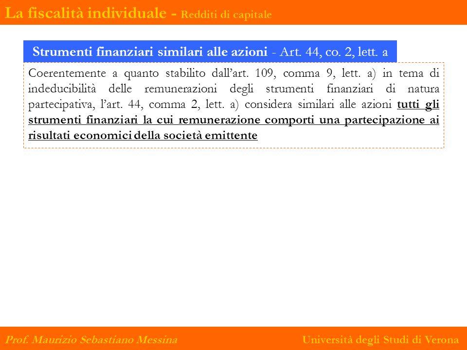 Strumenti finanziari similari alle azioni - Art. 44, co. 2, lett. a