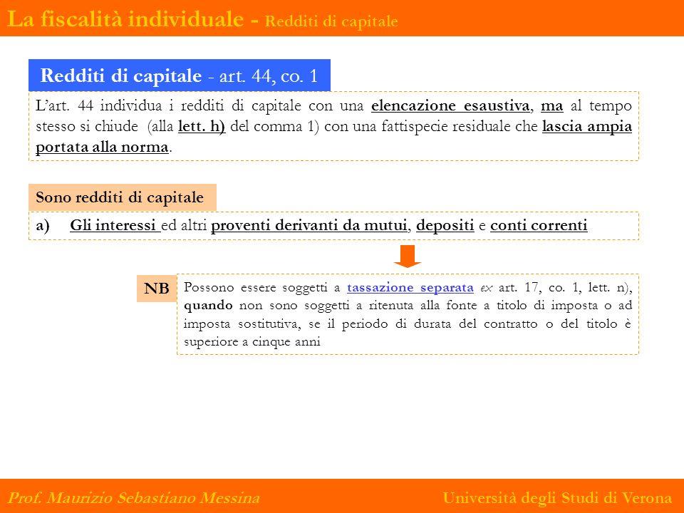 Redditi di capitale - art. 44, co. 1