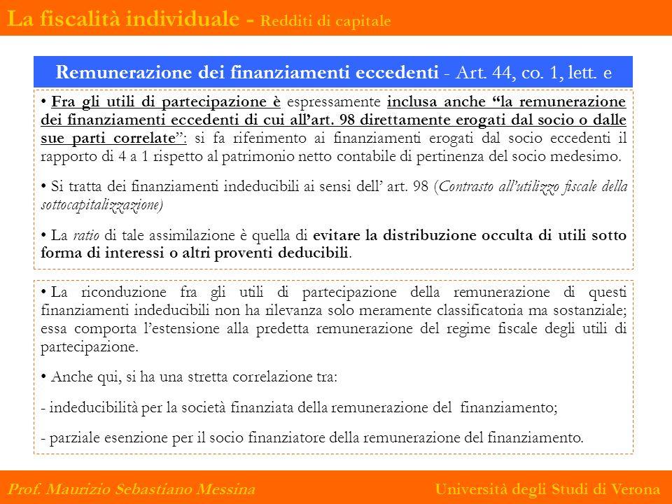 Remunerazione dei finanziamenti eccedenti - Art. 44, co. 1, lett. e
