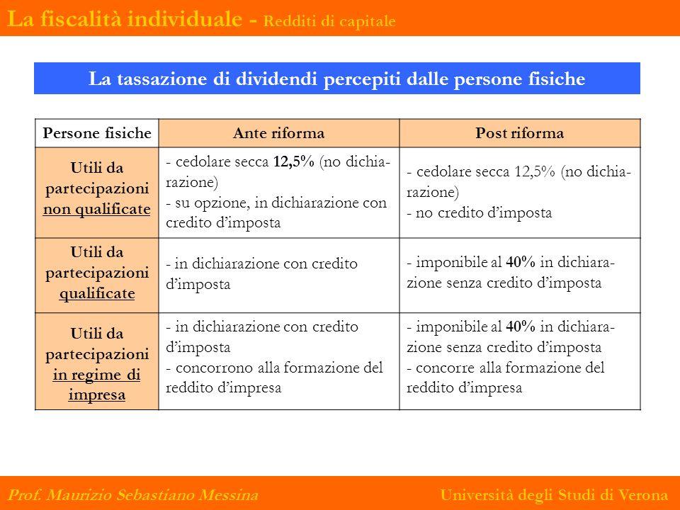 La fiscalità individuale - Redditi di capitale