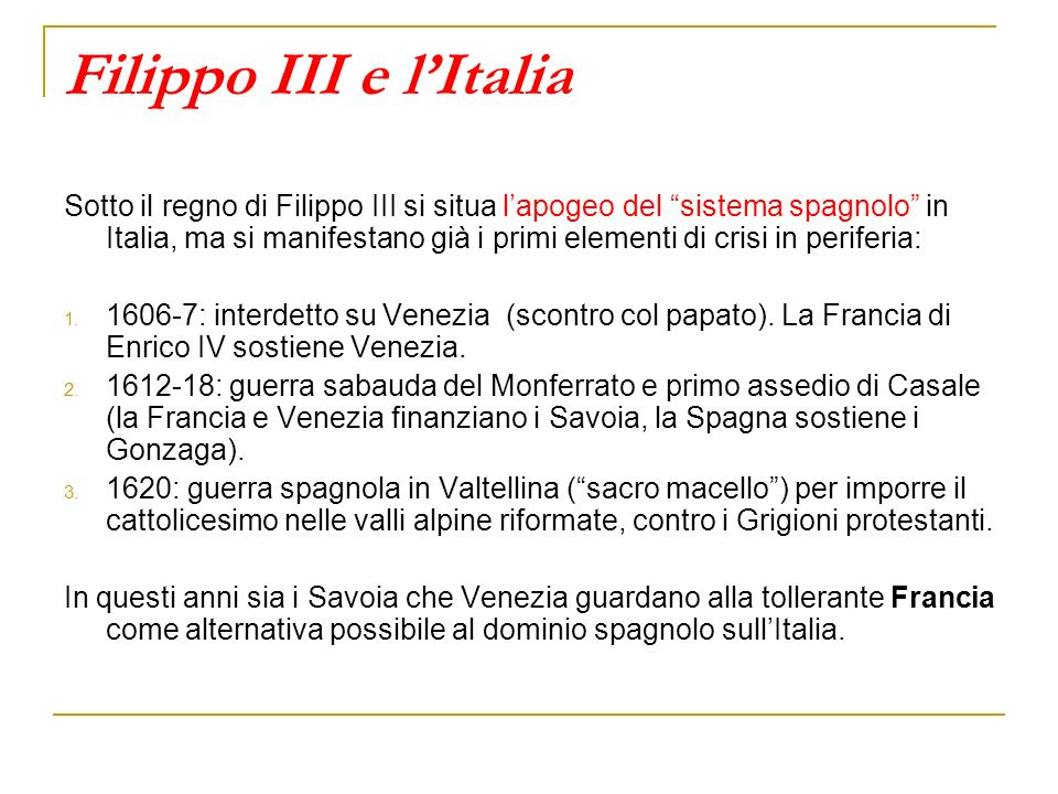 Filippo III e l'Italia