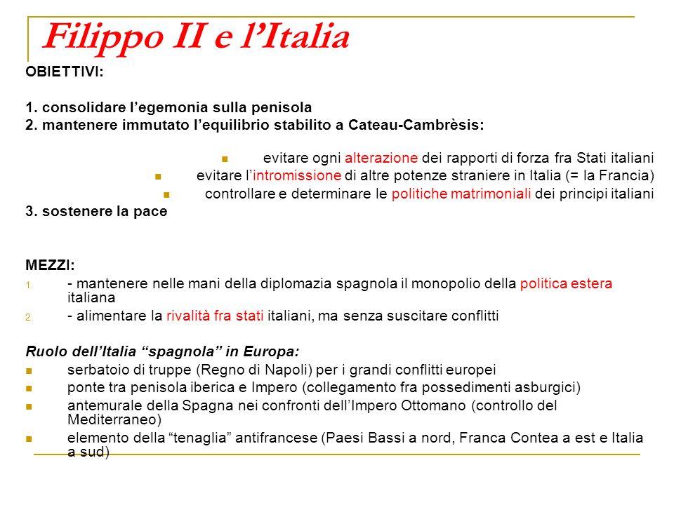 Filippo II e l'Italia OBIETTIVI: