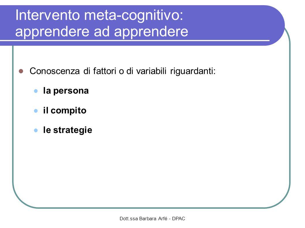 Intervento meta-cognitivo: apprendere ad apprendere