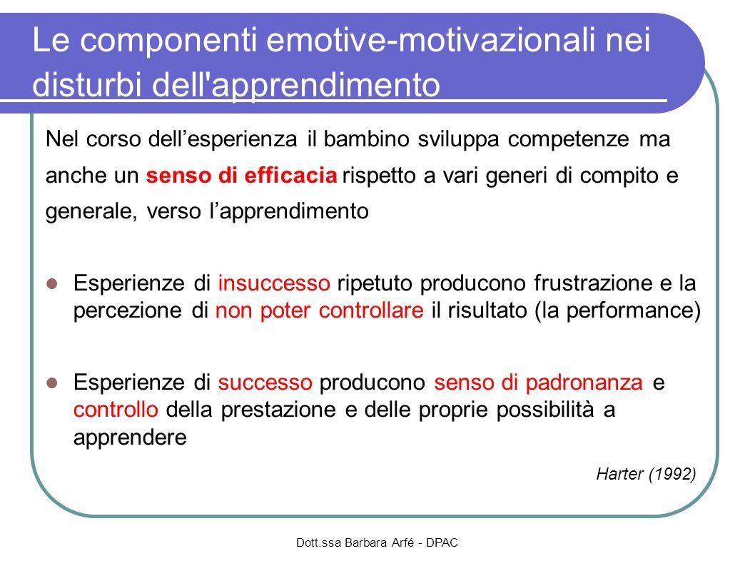 Le componenti emotive-motivazionali nei disturbi dell apprendimento