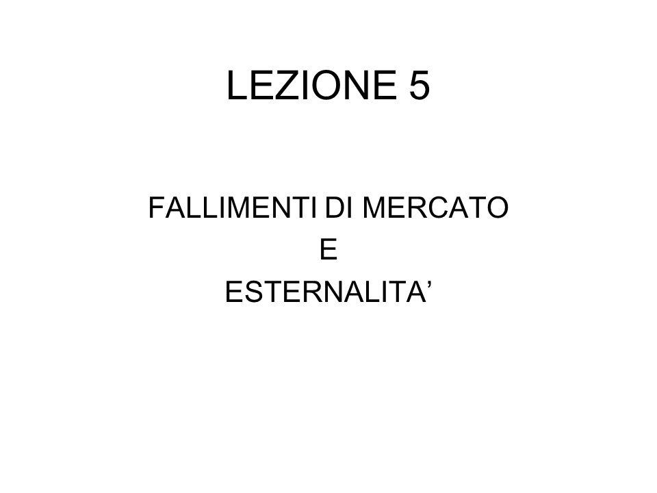 LEZIONE 5 FALLIMENTI DI MERCATO E ESTERNALITA'