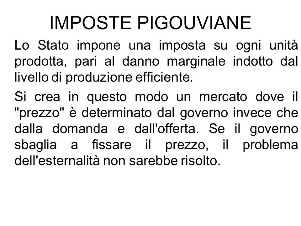 IMPOSTE PIGOUVIANELo Stato impone una imposta su ogni unità prodotta, pari al danno marginale indotto dal livello di produzione efficiente.