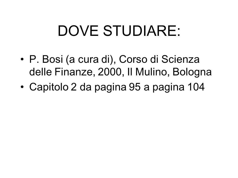 DOVE STUDIARE:P.Bosi (a cura di), Corso di Scienza delle Finanze, 2000, Il Mulino, Bologna.