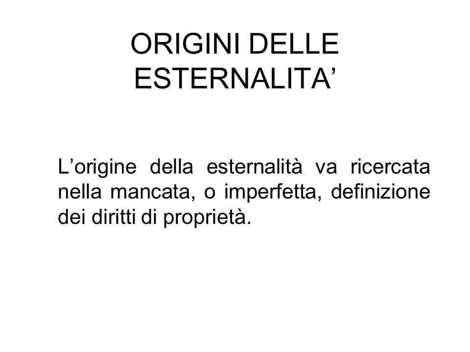 ORIGINI DELLE ESTERNALITA'