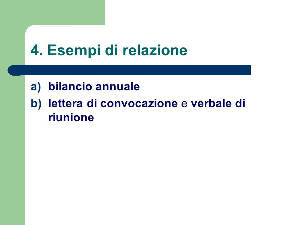 4. Esempi di relazione bilancio annuale