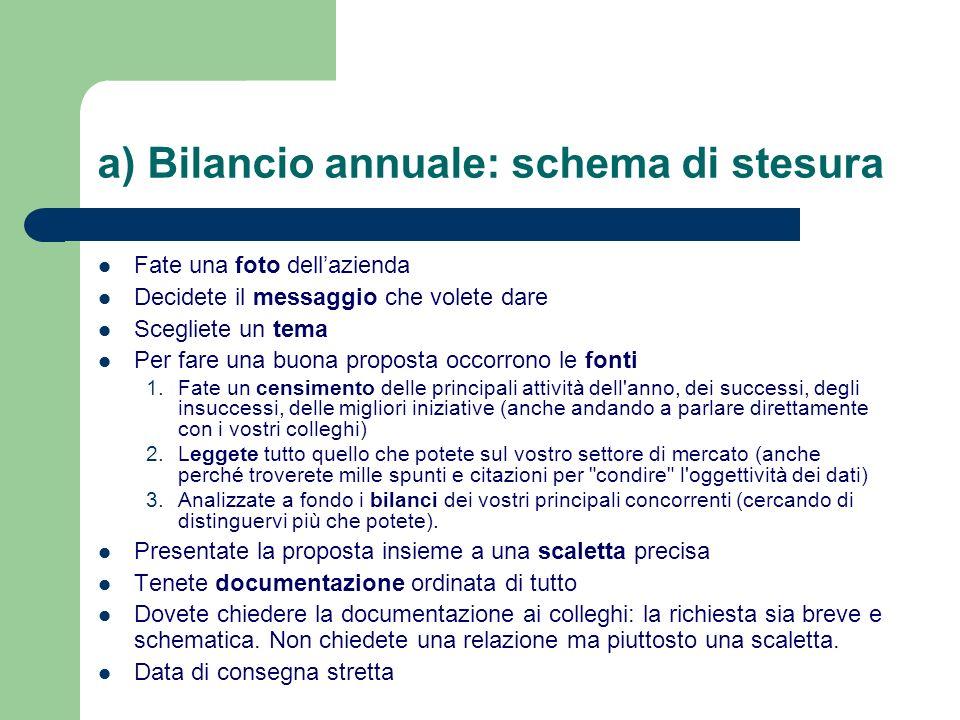 a) Bilancio annuale: schema di stesura