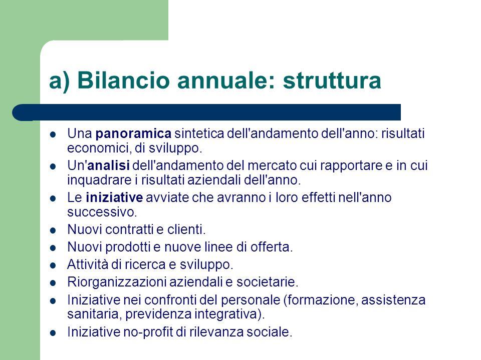 a) Bilancio annuale: struttura