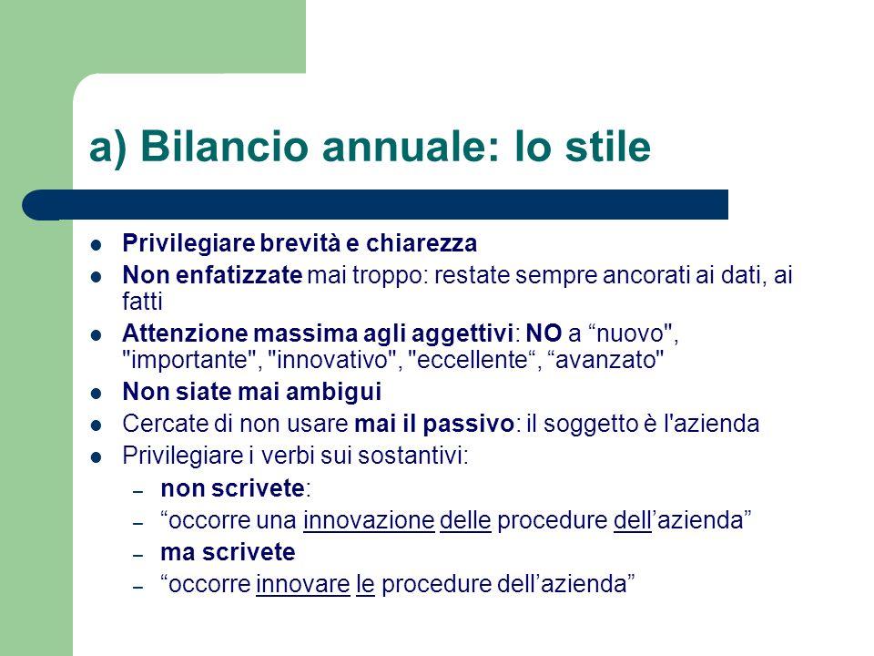 a) Bilancio annuale: lo stile