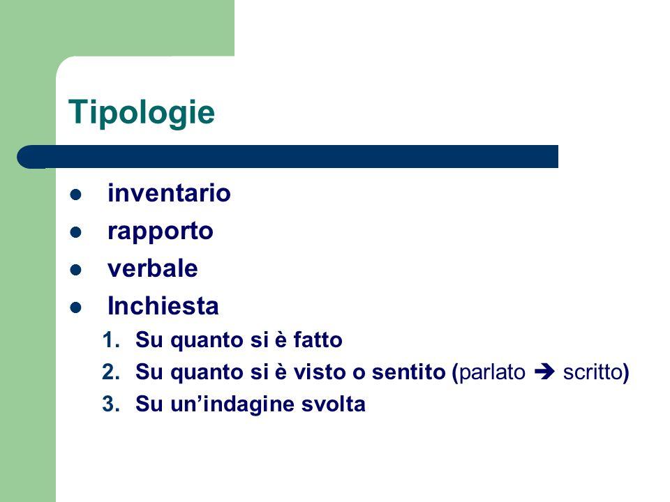 Tipologie inventario rapporto verbale Inchiesta Su quanto si è fatto