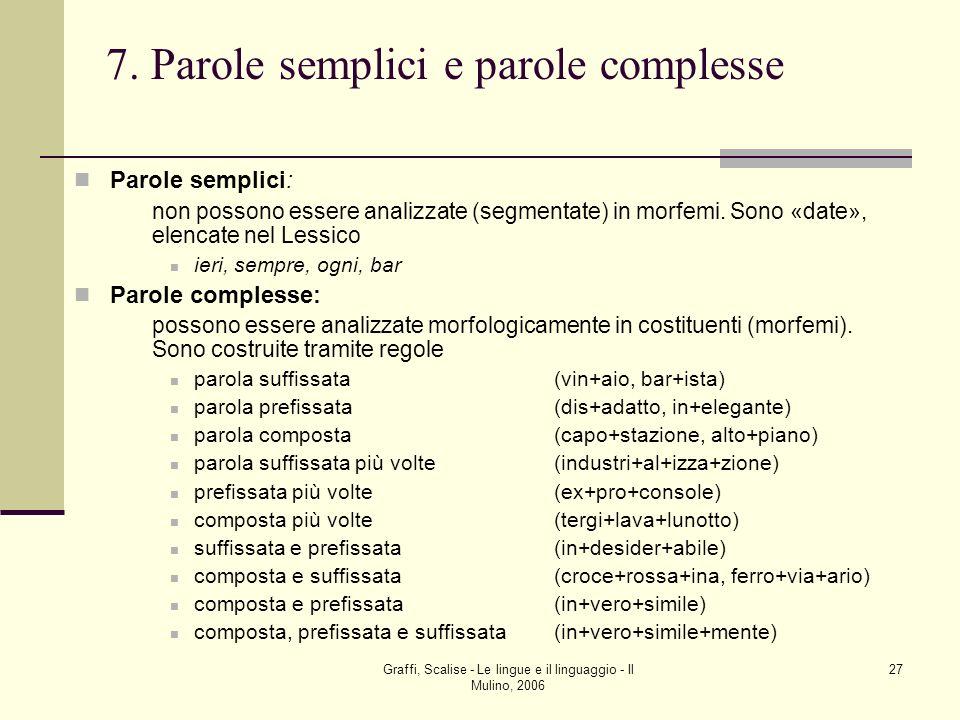 7. Parole semplici e parole complesse