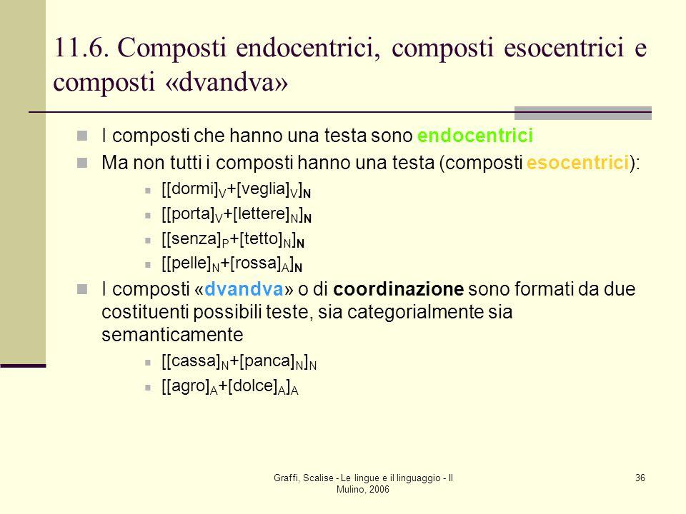 11.6. Composti endocentrici, composti esocentrici e composti «dvandva»