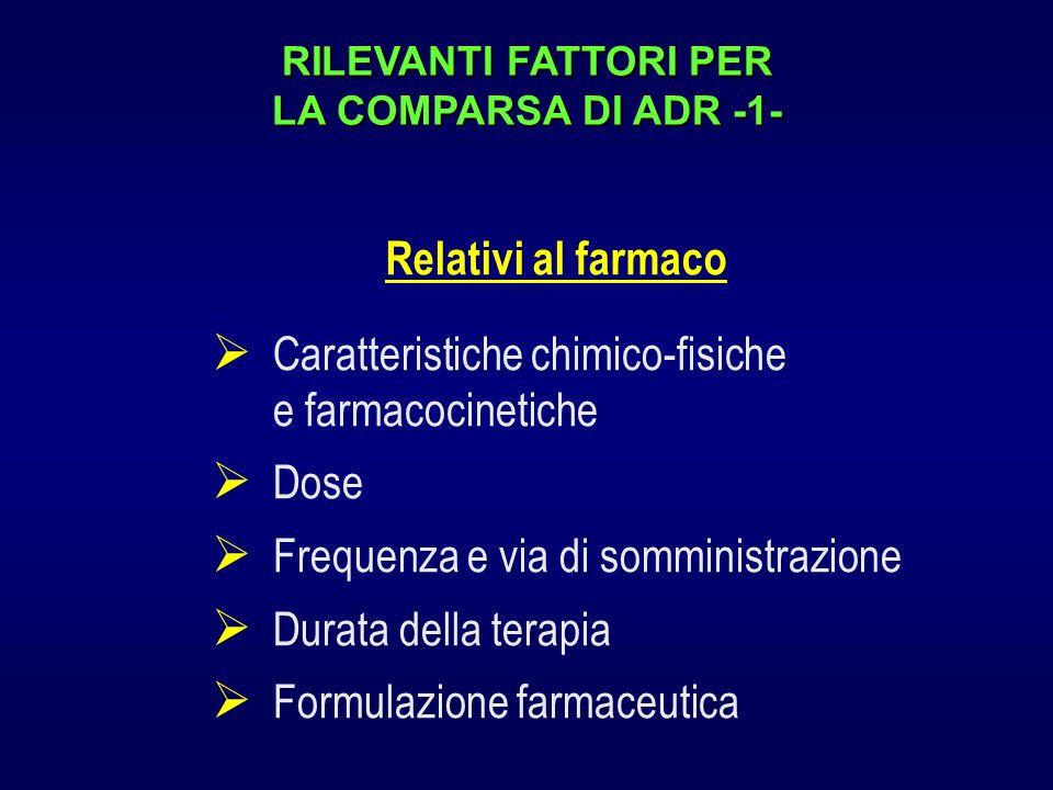 RILEVANTI FATTORI PER LA COMPARSA DI ADR -1-