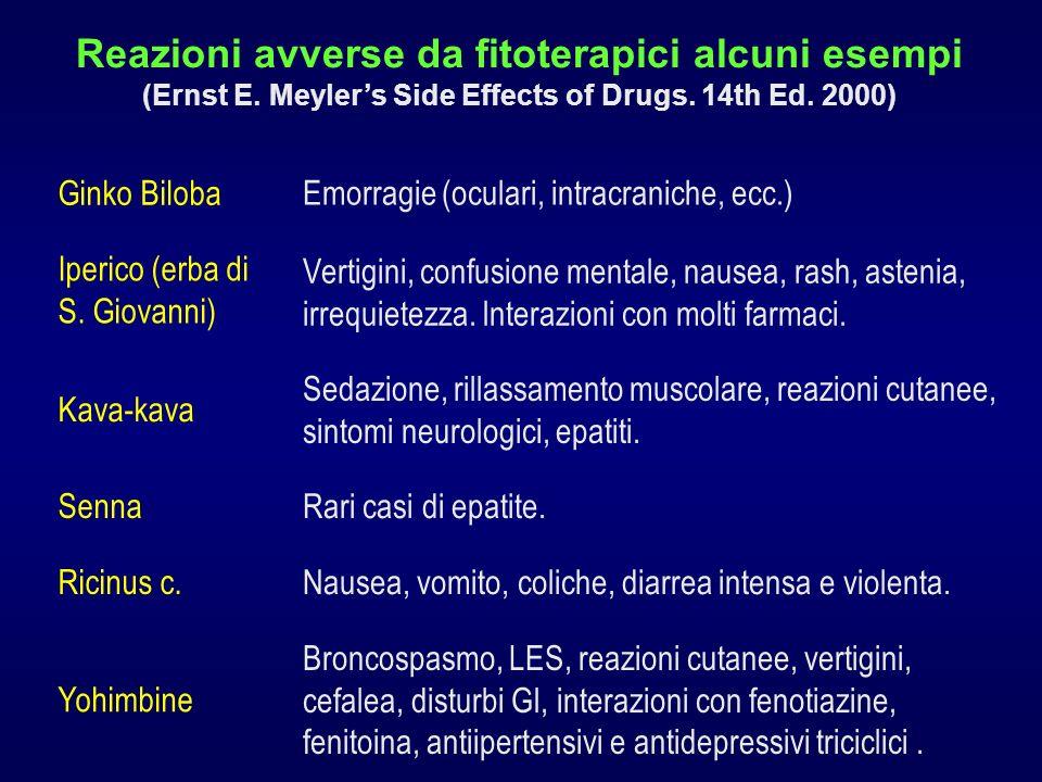 Reazioni avverse da fitoterapici alcuni esempi (Ernst E