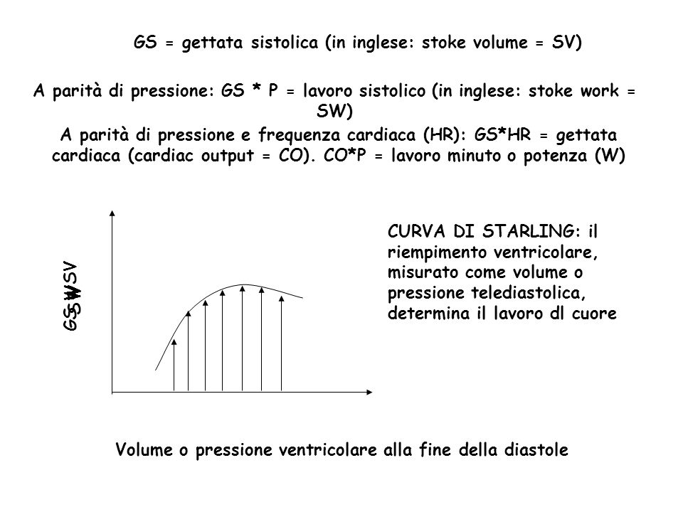 GS = gettata sistolica (in inglese: stoke volume = SV)