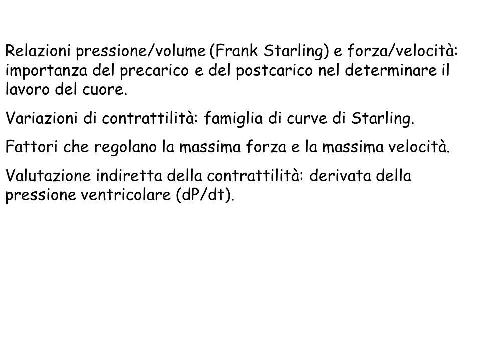 Relazioni pressione/volume (Frank Starling) e forza/velocità: importanza del precarico e del postcarico nel determinare il lavoro del cuore.