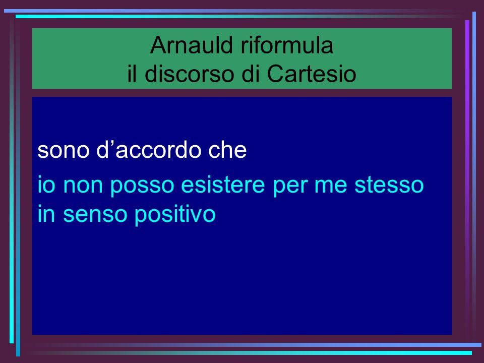 Arnauld riformula il discorso di Cartesio