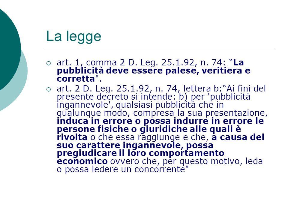 La legge art. 1, comma 2 D. Leg. 25.1.92, n. 74: La pubblicità deve essere palese, veritiera e corretta .
