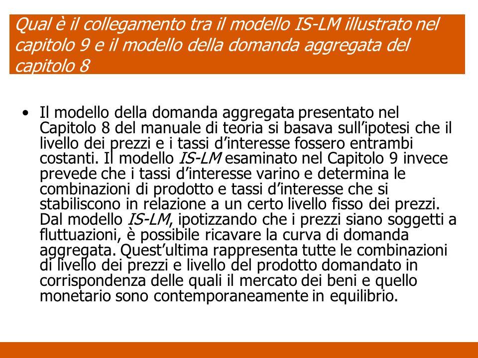 Qual è il collegamento tra il modello IS-LM illustrato nel capitolo 9 e il modello della domanda aggregata del capitolo 8