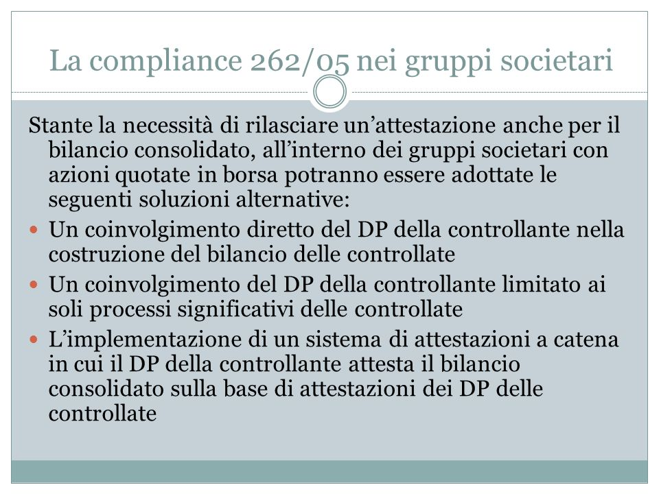 La compliance 262/05 nei gruppi societari