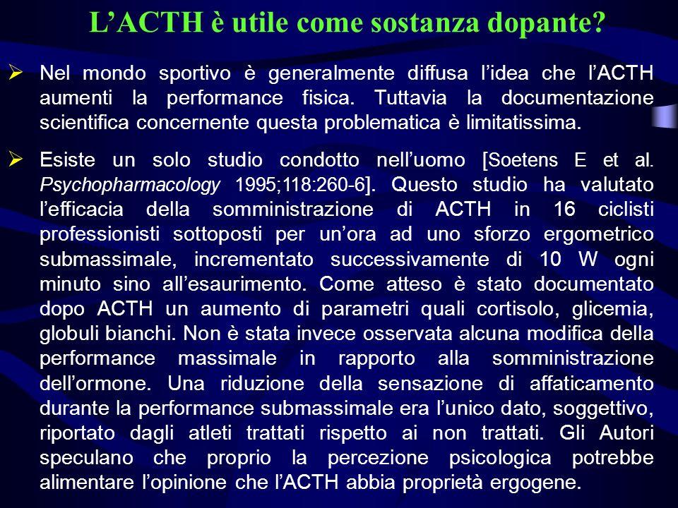L'ACTH è utile come sostanza dopante