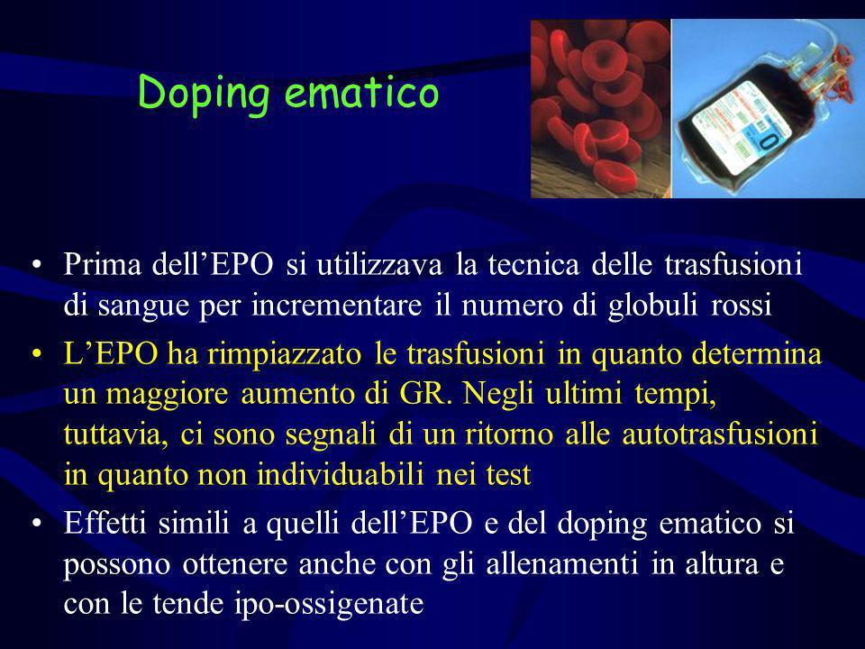 Doping ematicoPrima dell'EPO si utilizzava la tecnica delle trasfusioni di sangue per incrementare il numero di globuli rossi.