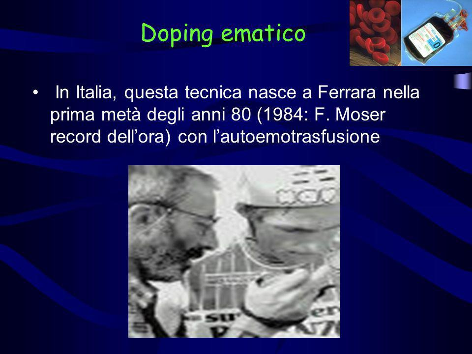 Doping ematico In Italia, questa tecnica nasce a Ferrara nella prima metà degli anni 80 (1984: F.