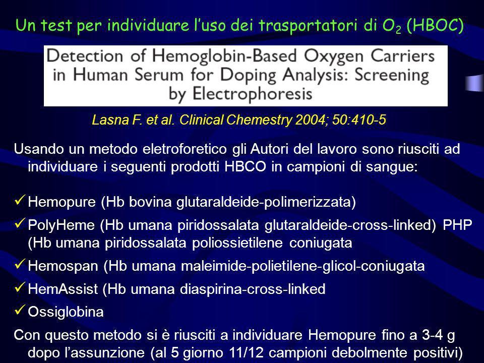 Un test per individuare l'uso dei trasportatori di O2 (HBOC)