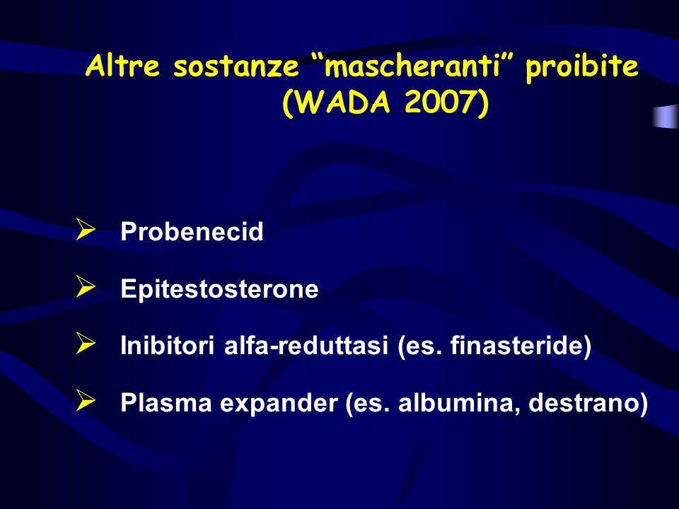 Altre sostanze mascheranti proibite (WADA 2007)