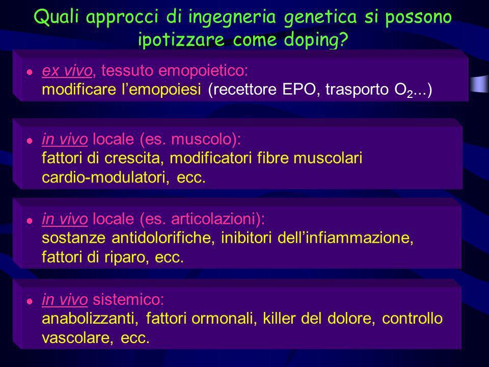 Quali approcci di ingegneria genetica si possono ipotizzare come doping