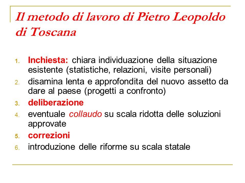 Il metodo di lavoro di Pietro Leopoldo di Toscana