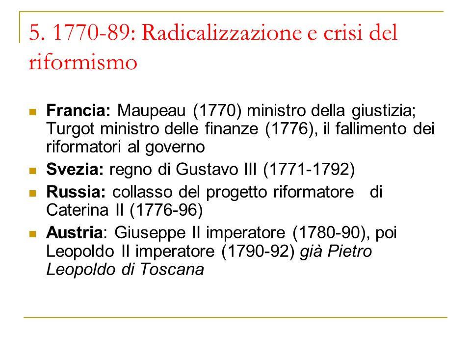5. 1770-89: Radicalizzazione e crisi del riformismo