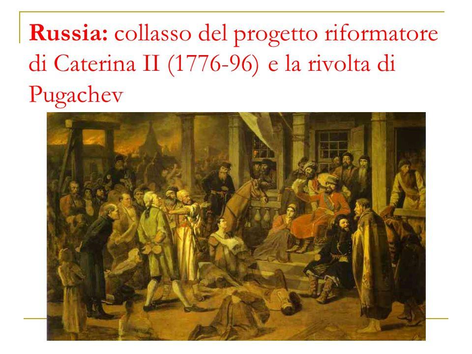 Russia: collasso del progetto riformatore di Caterina II (1776-96) e la rivolta di Pugachev