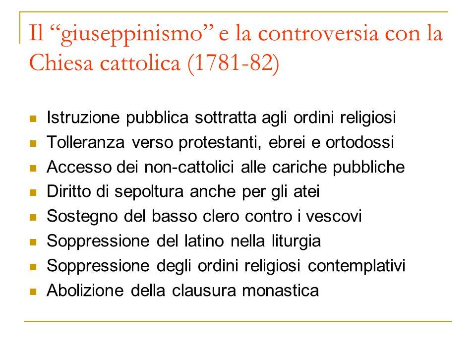Il giuseppinismo e la controversia con la Chiesa cattolica (1781-82)