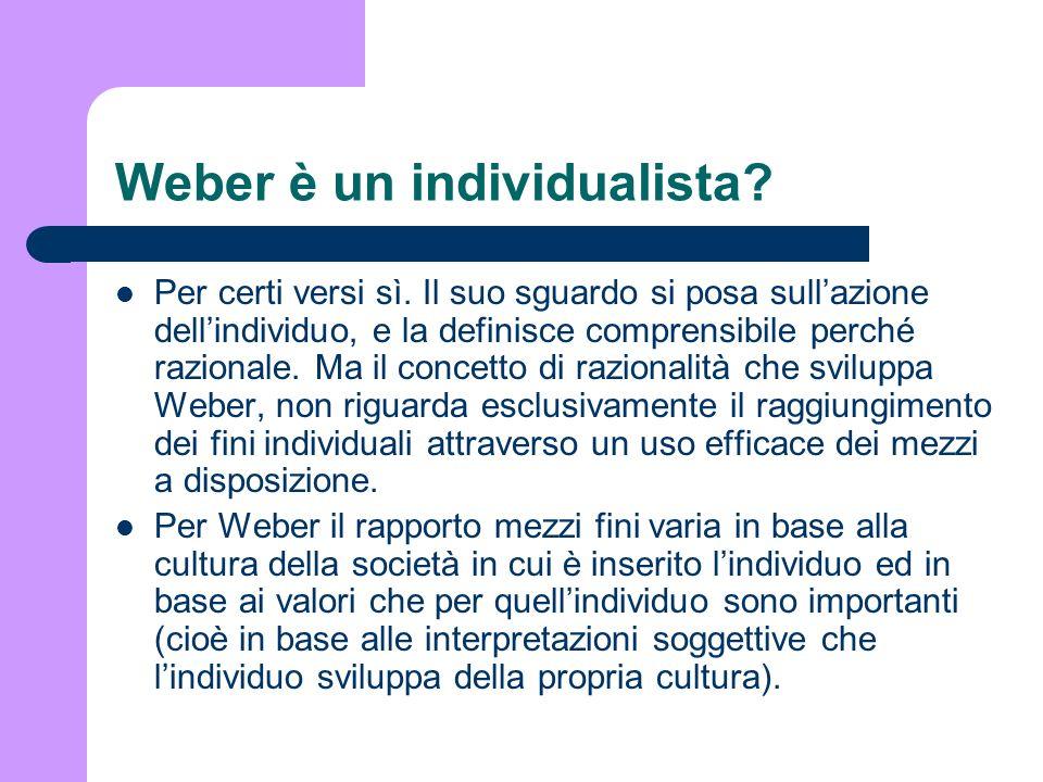 Weber è un individualista