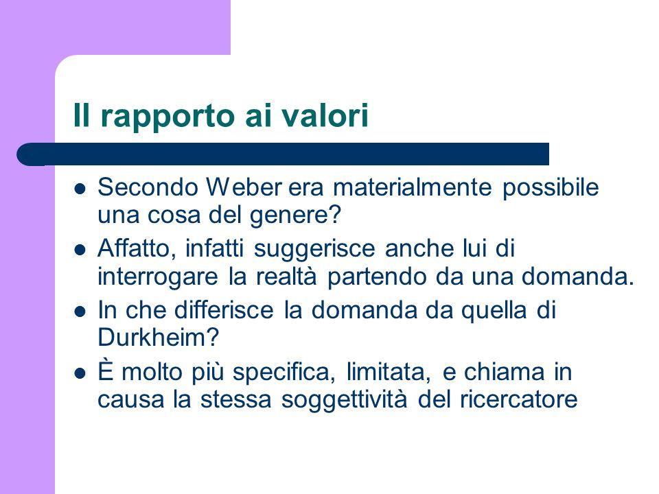 Il rapporto ai valori Secondo Weber era materialmente possibile una cosa del genere