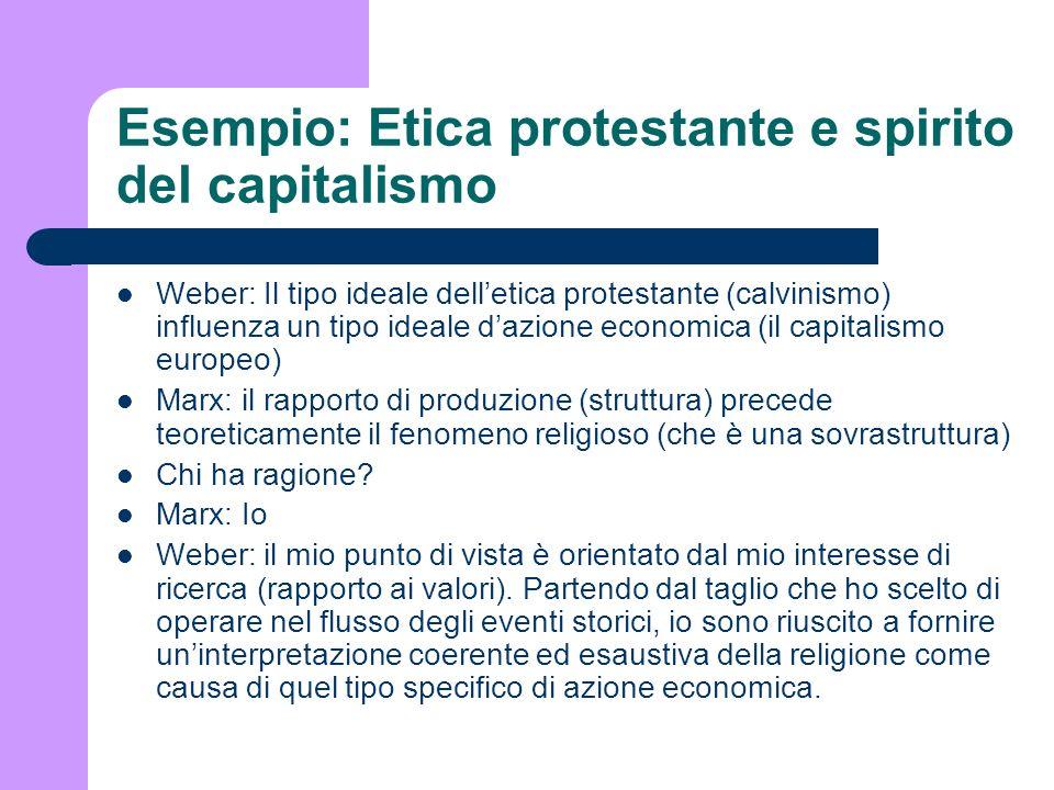Esempio: Etica protestante e spirito del capitalismo