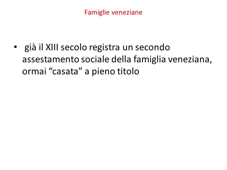 Famiglie veneziane già il XIII secolo registra un secondo assestamento sociale della famiglia veneziana, ormai casata a pieno titolo.