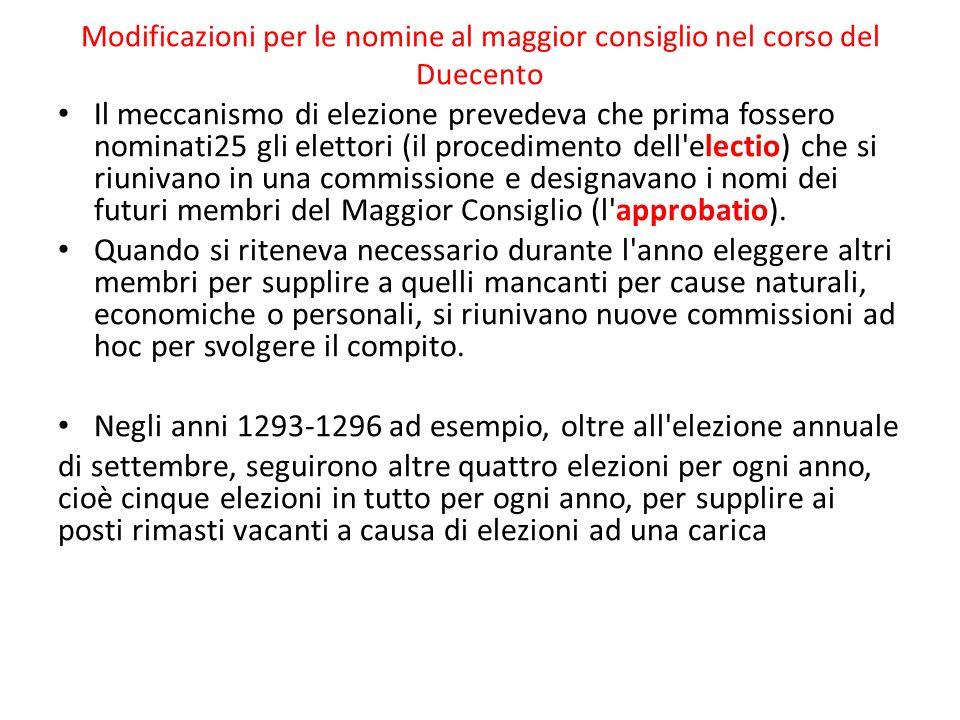 Negli anni 1293-1296 ad esempio, oltre all elezione annuale