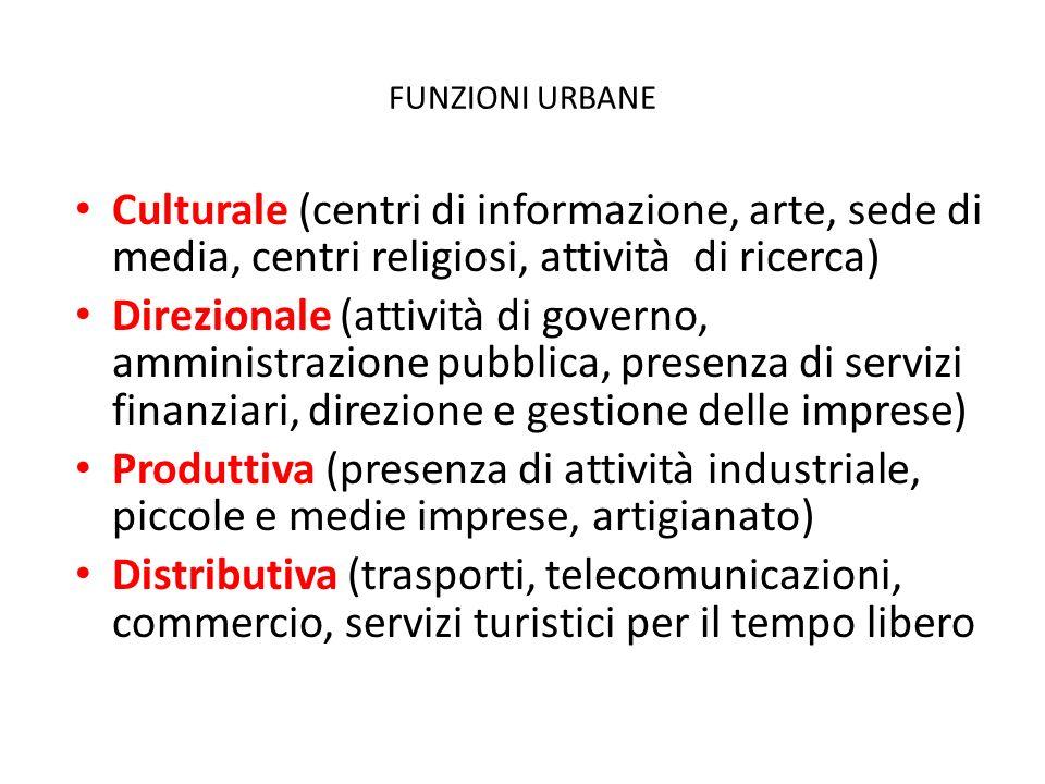 FUNZIONI URBANE Culturale (centri di informazione, arte, sede di media, centri religiosi, attività di ricerca)