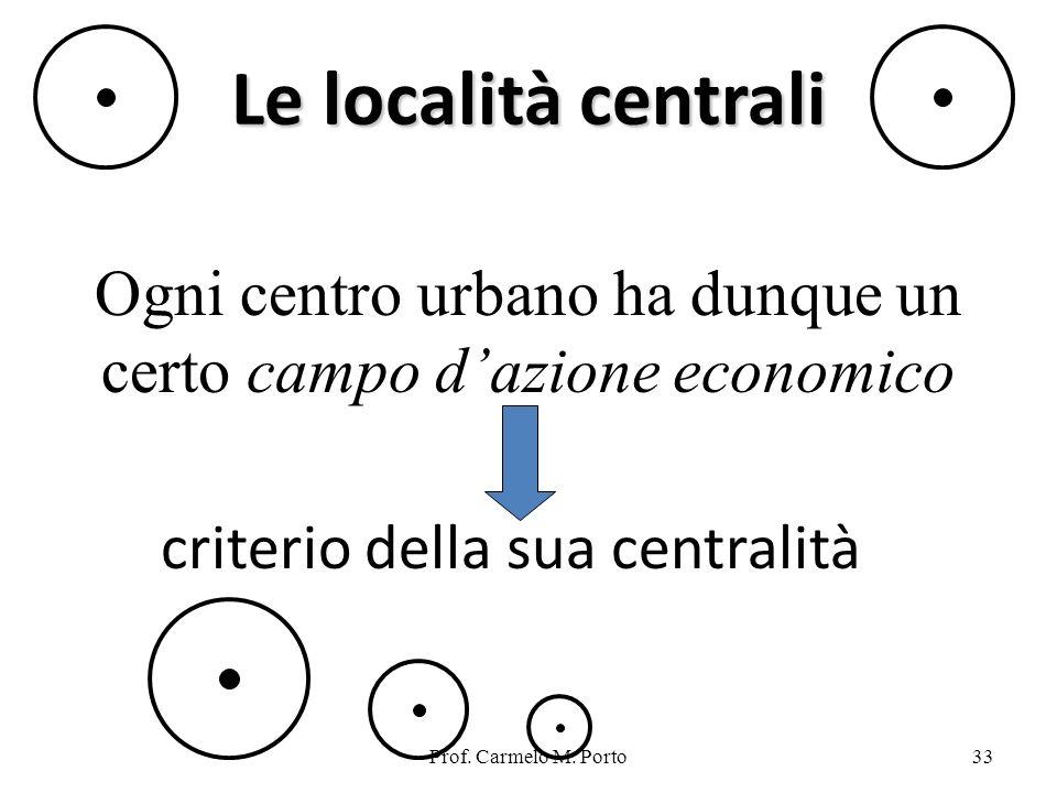 Ogni centro urbano ha dunque un certo campo d'azione economico