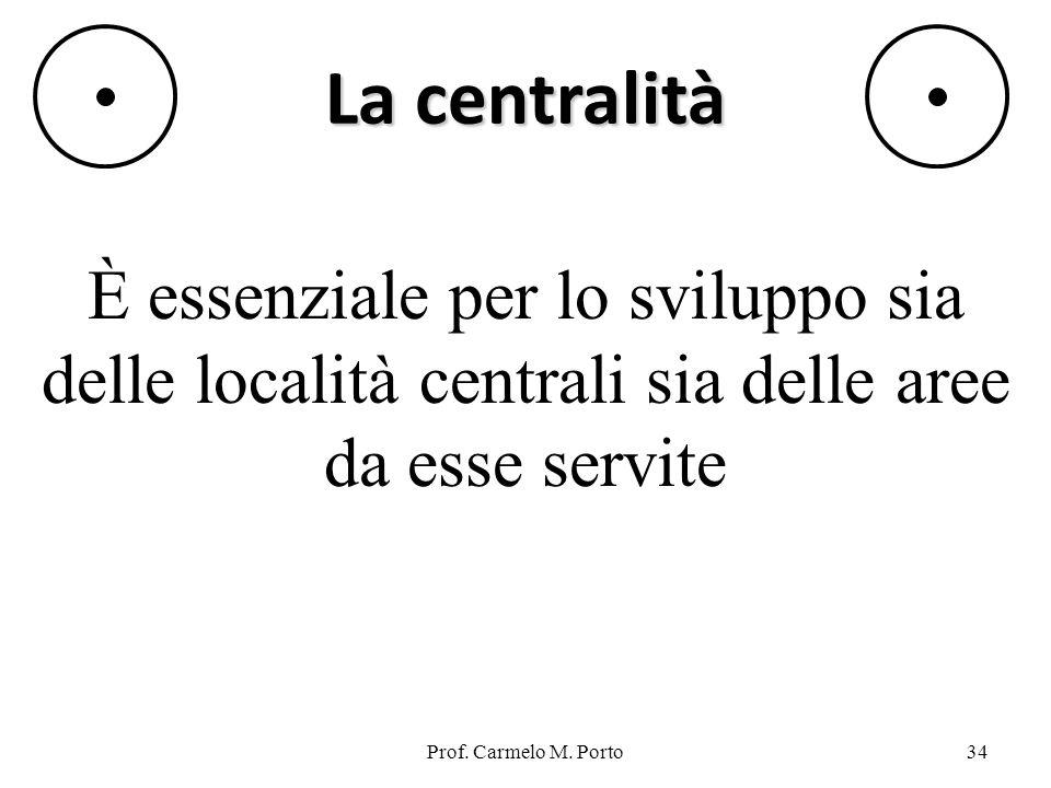 La centralità È essenziale per lo sviluppo sia delle località centrali sia delle aree da esse servite.