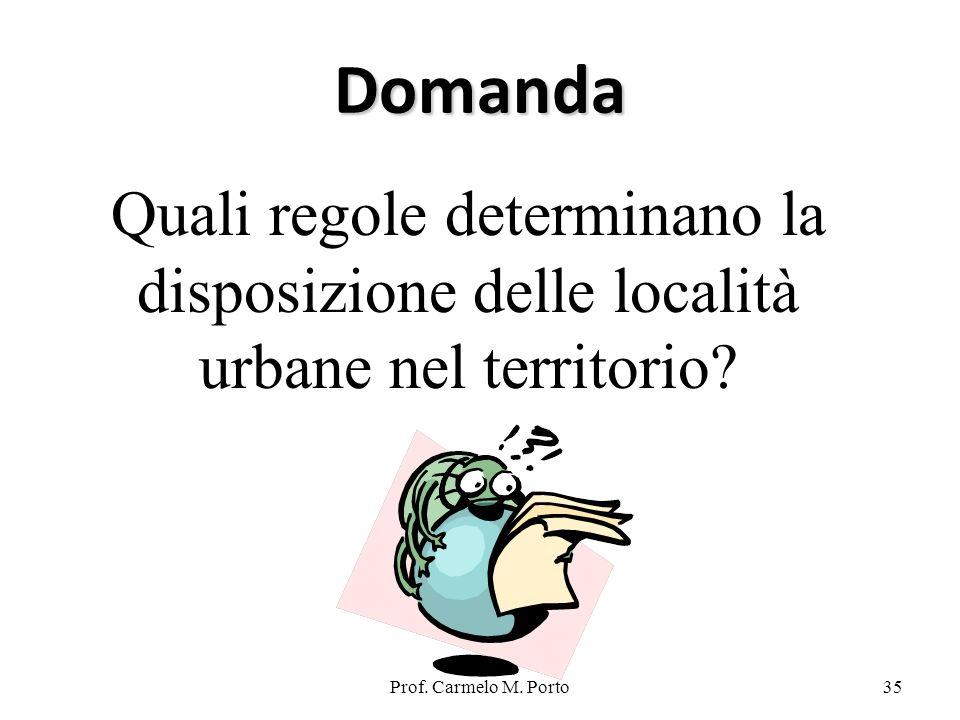 Domanda Quali regole determinano la disposizione delle località urbane nel territorio.