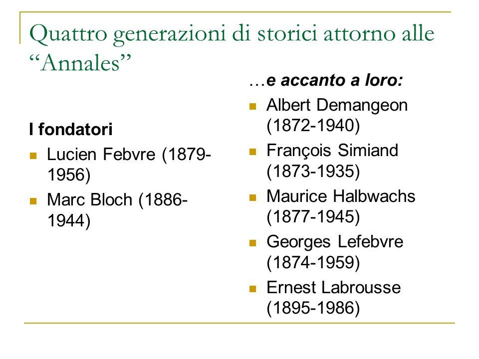 Quattro generazioni di storici attorno alle Annales