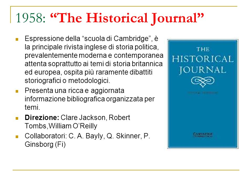 1958: The Historical Journal
