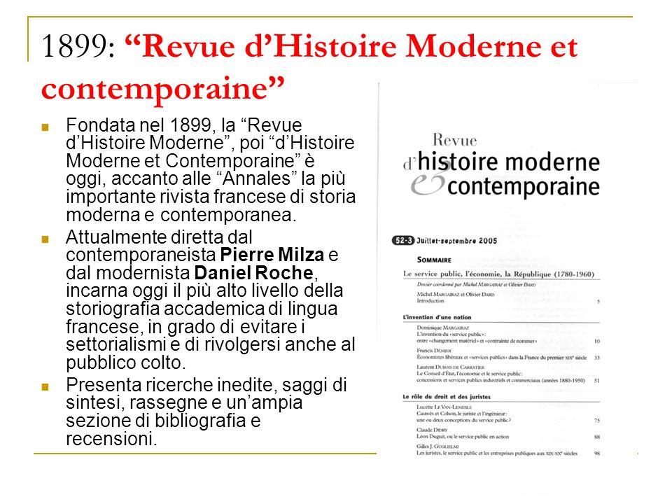 1899: Revue d'Histoire Moderne et contemporaine