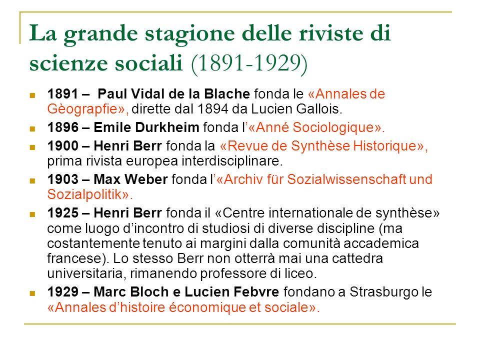 La grande stagione delle riviste di scienze sociali (1891-1929)